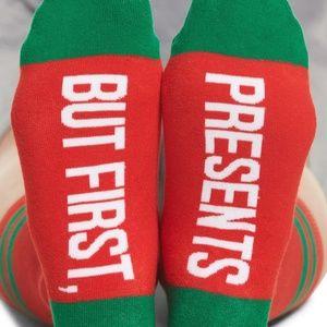 """Sockart """"But First Presents"""" Socks"""